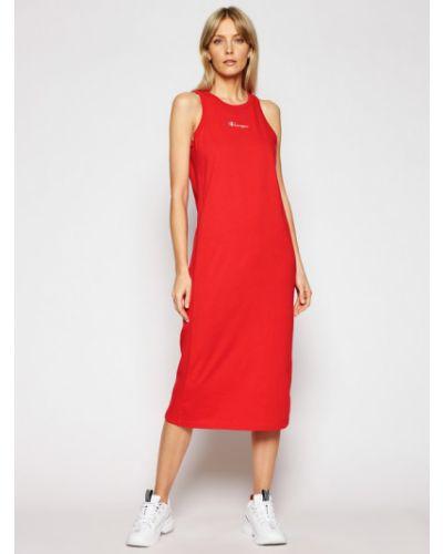 Prążkowana czerwona sukienka na co dzień Champion