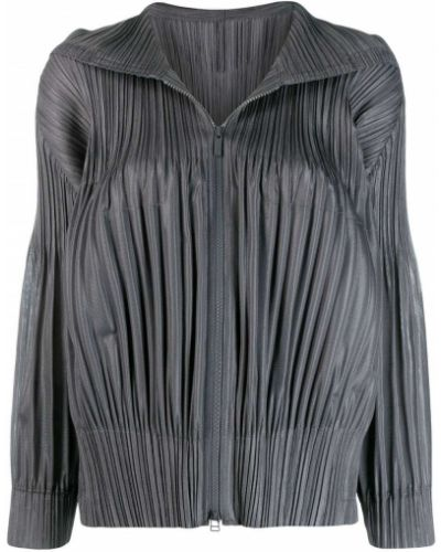 Прямая серая длинная куртка Pleats Please By Issey Miyake