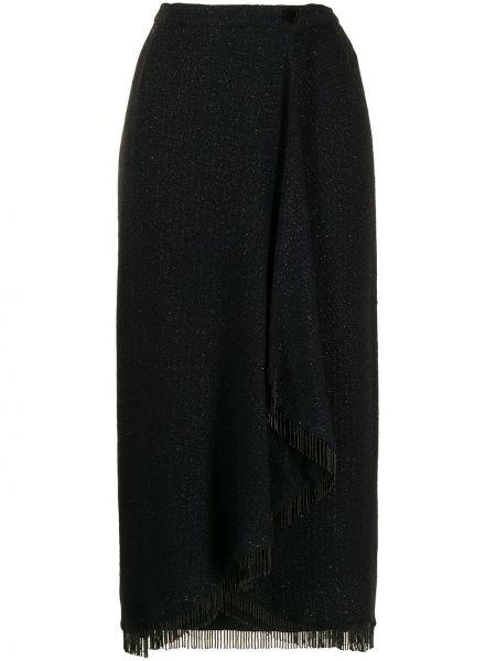 Wełniany czarny spódnica midi frędzlami Valentino Pre-owned