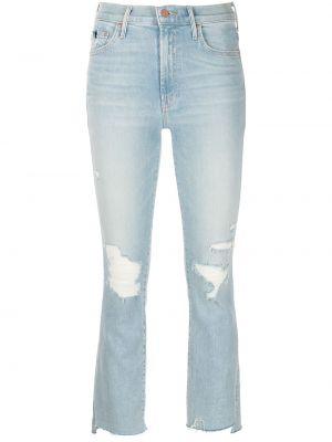 Синие укороченные джинсы на молнии с бахромой Mother