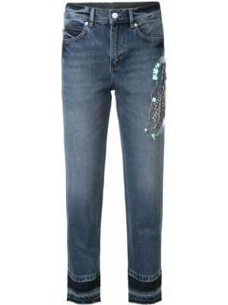 Укороченные зауженные джинсы - синие Escada Sport