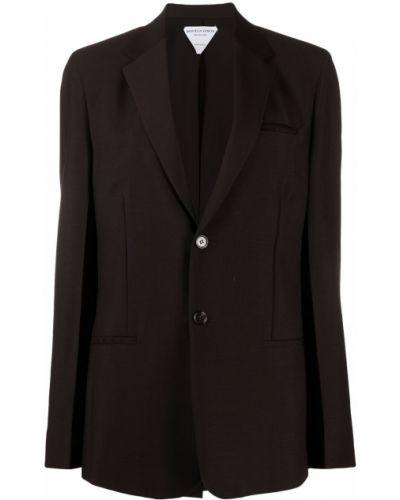 Шерстяной однобортный черный удлиненный пиджак Bottega Veneta