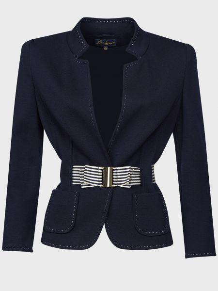 Шерстяной синий пиджак с поясом Luisa Spagnoli