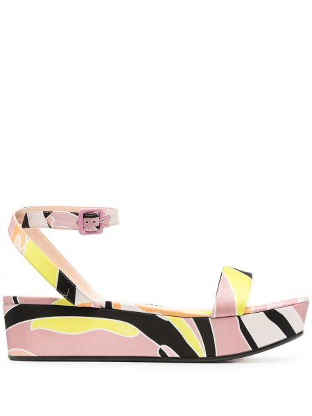 Czarne sandały skorzane klamry Emilio Pucci