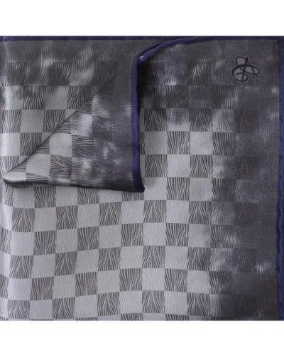 Серый шелковый платок в клетку Canali