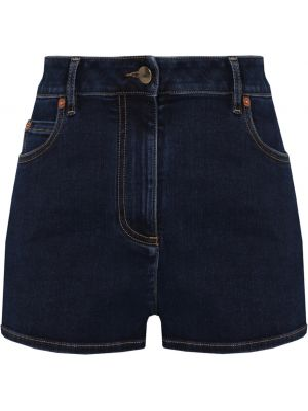 Синие джинсовые шорты со стразами с карманами на пуговицах Valentino