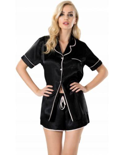 Czarna satynowa piżama krótki rękaw Vienetta