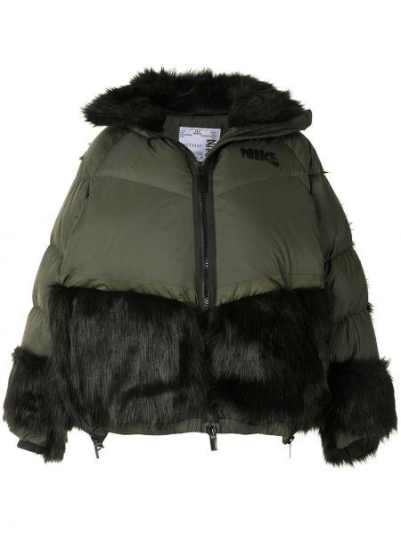 Z rękawami bawełna zielony długa kurtka z kapturem Nike