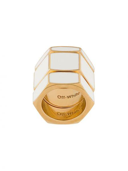 Кольцо из золота белый Off-white