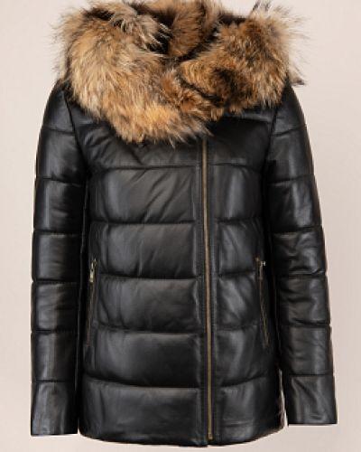 Черная кожаная куртка с капюшоном Imperiafabrik