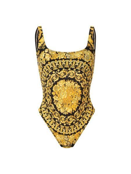 Слитный купальник с открытой спиной черный Versace