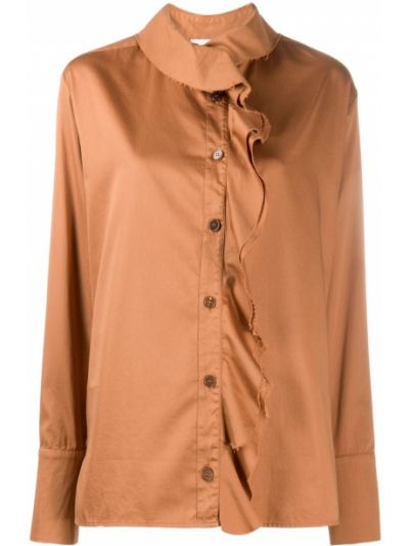 Прямая коричневая блузка с оборками на пуговицах Barena