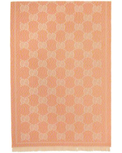 Розовый шерстяной шарф прямоугольный Gucci