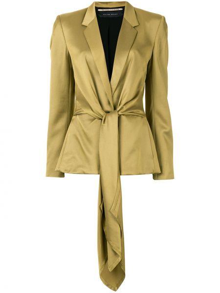 Шелковый желтый приталенный удлиненный пиджак Roland Mouret