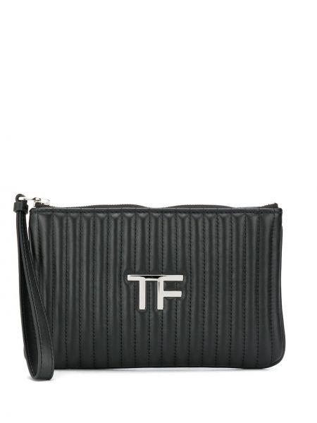 Кожаная стеганая черная сумка Tom Ford