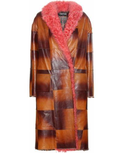 Кожаное пальто с опушкой Tom Ford