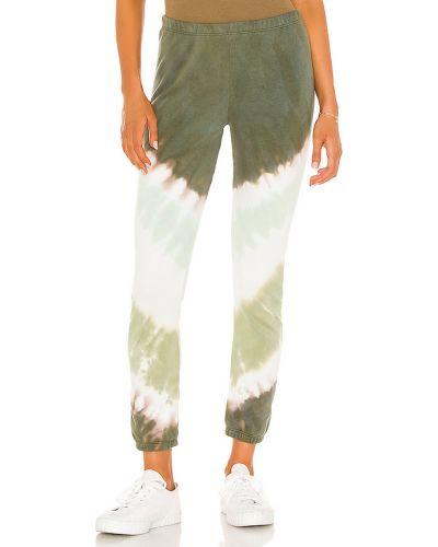 Zielony miękki bawełna spodnie na gumce z mankietami Wildfox Couture