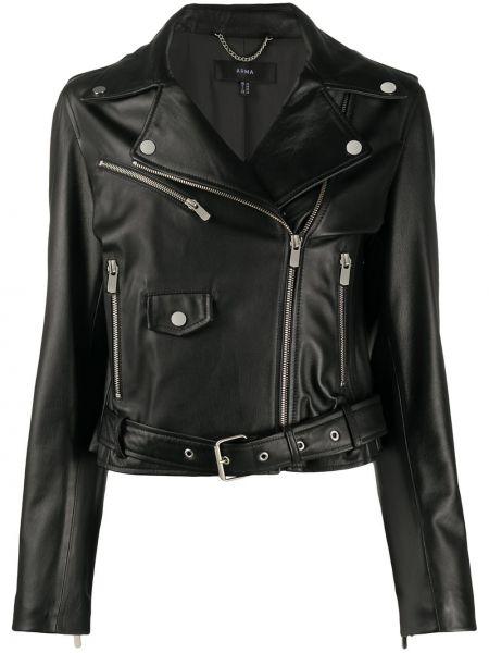 Черная куртка на молнии байкерская с поясом Arma