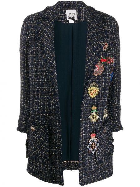 Коралловое длинное пальто с опушкой металлическое Edward Achour Paris