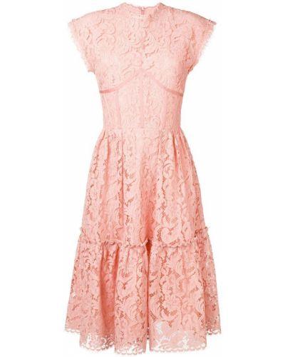 Приталенное розовое расклешенное ажурное платье миди Sophia Kah
