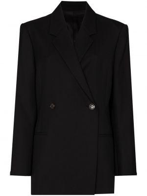 Шерстяной черный пиджак двубортный Toteme