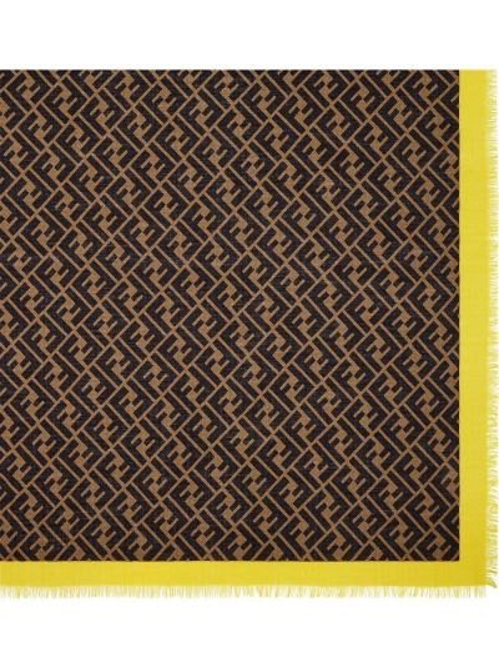 Желтый шелковый шарф с опушкой Fendi