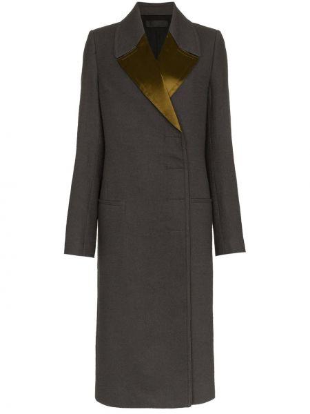 Приталенное шерстяное серое длинное пальто двубортное Haider Ackermann