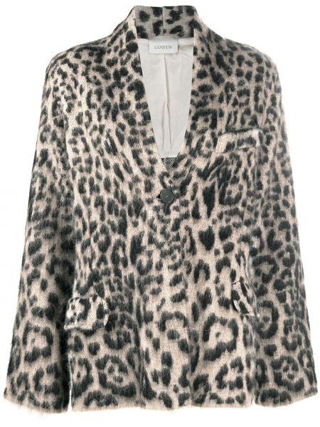 Шерстяной черный удлиненный пиджак на пуговицах Laneus