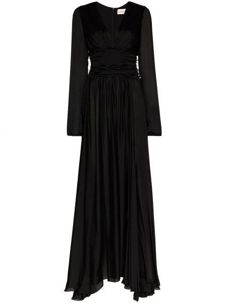 Czarna sukienka wieczorowa z falbanami z jedwabiu Alexandre Vauthier