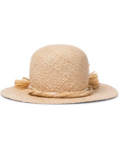 Beżowy słoma kapelusz za pełne Il Gufo