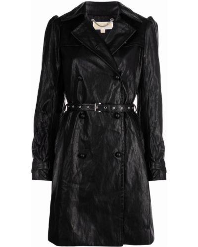 Черное кожаное пальто Michael Michael Kors