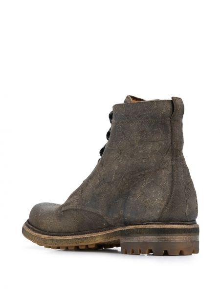 Кожаные серые ботинки на каблуке на шнуровке на каблуке Silvano Sassetti