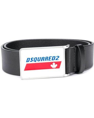 Черный кожаный ремень с перфорацией Dsquared2 Kids