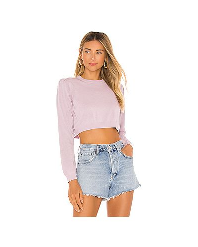 Хлопковый фиолетовый свитер в рубчик Majorelle