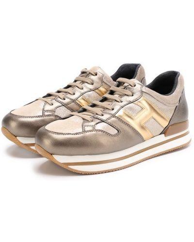 Кроссовки на платформе кожаные цветные Hogan