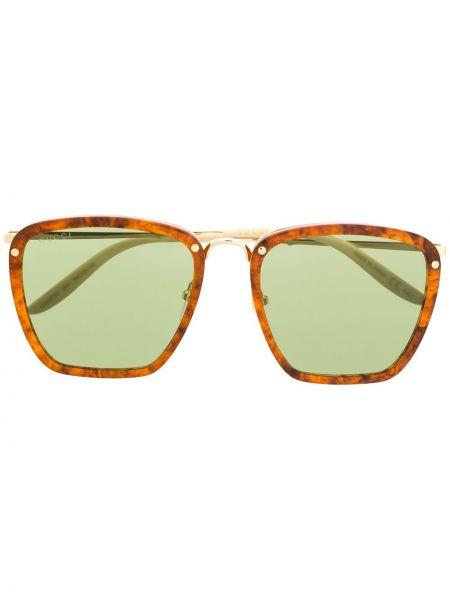 Прямые оранжевые солнцезащитные очки квадратные с завязками Gucci Eyewear