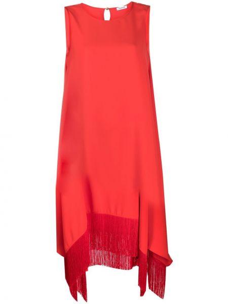 Красное платье миди с бахромой с вырезом P.a.r.o.s.h.