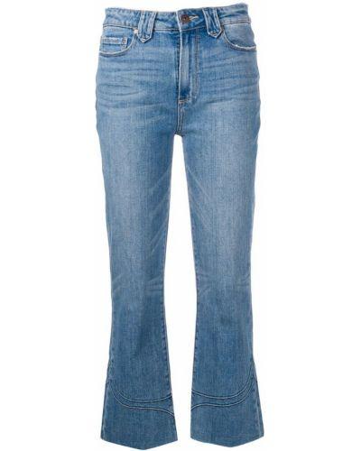 Укороченные джинсы синие на пуговицах Paige
