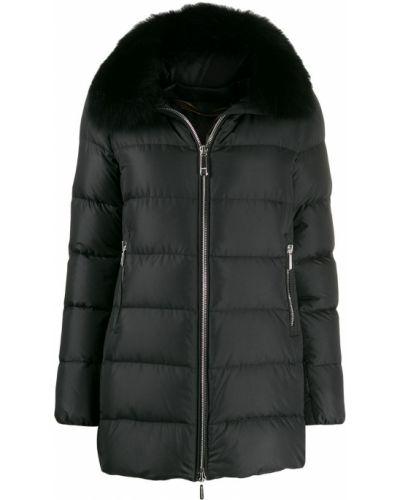 Черное пуховое длинное пальто с капюшоном Moorer