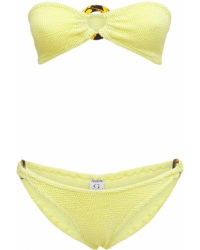 Желтые бикини эластичные с пряжкой Hunza G