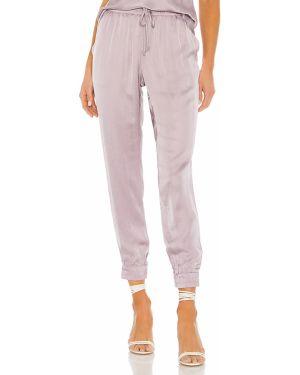 Fioletowe spodnie z wiskozy peep toe Yfb Clothing