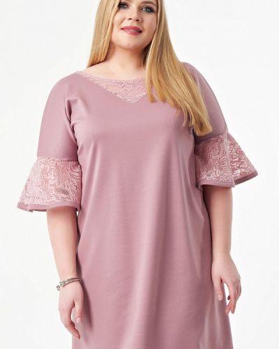 Повседневное платье розовое осеннее Wisell