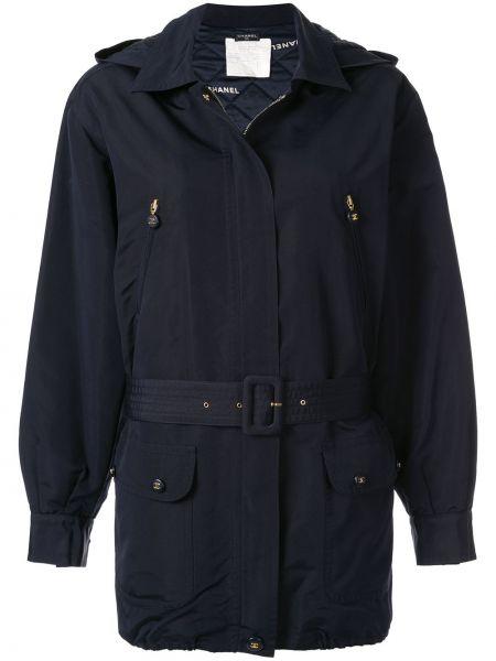 Синяя куртка с капюшоном на молнии Chanel Pre-owned