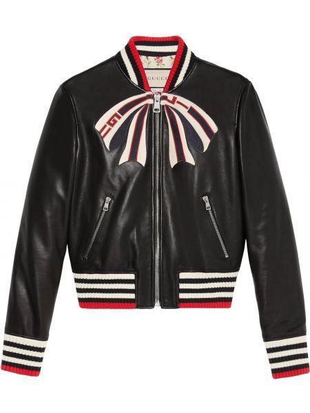 С рукавами черная кожаная куртка Gucci