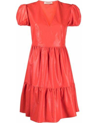 Красное платье мини с короткими рукавами с вырезом Twin-set