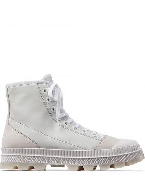 Белые замшевые сапоги на шнуровке Jimmy Choo