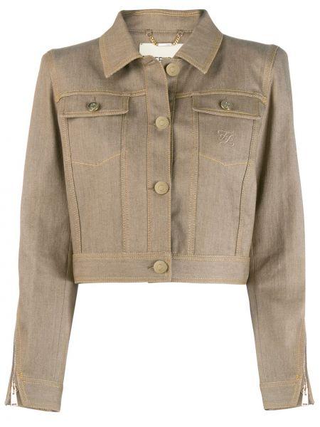 С рукавами джинсовая куртка с вышивкой с воротником Fendi