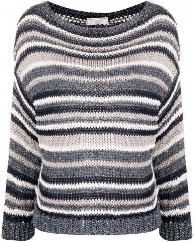 Sweter z okrągłym dekoltem z długimi rękawami z paskami metal Antonelli