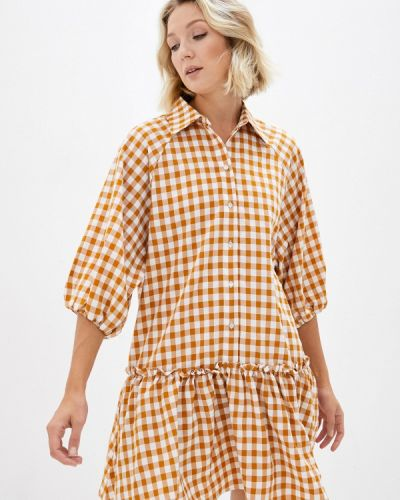 Платье рубашка - оранжевое Ichi
