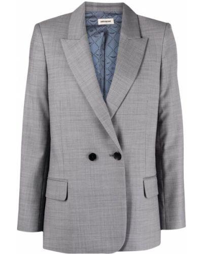 Шерстяной серый удлиненный пиджак с карманами Zadig&voltaire